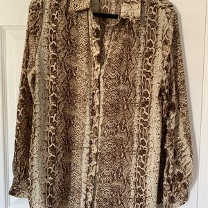 PrettyLittleThing Tops - PLT Snake Print button down blouse size 8